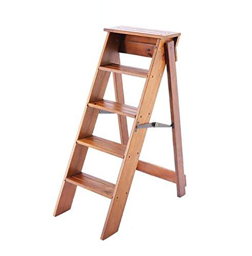 DY opstapkruk inklapbaar 5 treden klapstoel van massief hout modieuze trapstoel, multifunctionele stoel, stepladder voor keuken thuis, hoogte 39 inch