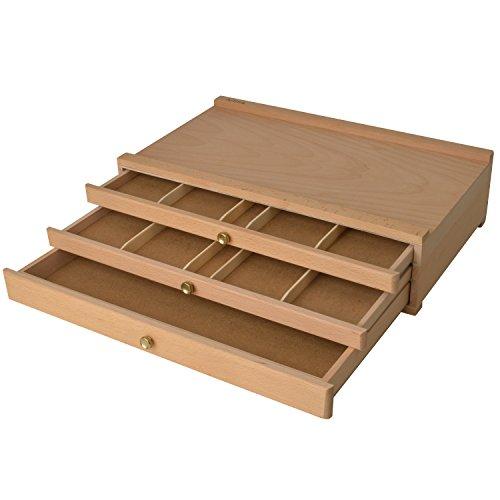 Artina Troyes houten kist met 3 laden 40 x 10 x 25 cm (b x h x d) - beukenhout - ideaal voor het bewaren van schilderspullen