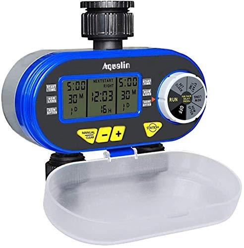 LYYJIAJU Temporizador de Riego Automático Two Outlet Garden Digital Electronic Water Timer Válvula solenoide Garden Controlador de riego para jardín