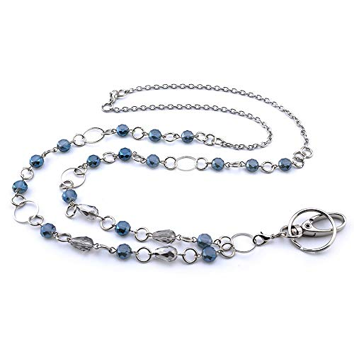 LUXIANDA Beads and Rings Lanyard Necklaces Badge Holder Name Lanyards for Keys Stainless Steel Chain