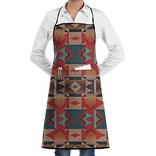 Delantal de chef con diseño de mosaico tribal indio indio rústico con patrón de cabina para mujeres y hombres, delantal de cocina divertido delantal de barbacoa ajustable con bolsillos