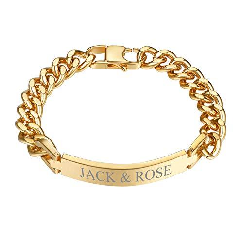 PROSTEEL Gold Plated Bracelet for Men Xmas Gift Engrave ID Identity Bracelet Wrist Chain Golden