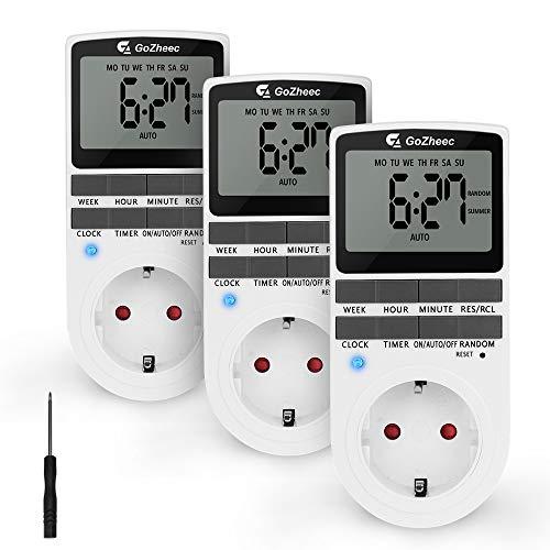 3 Pack Digitale Elektronische Zeitschaltuhr Steckdose, 10 Modus Programmierbare Timer Steckdose mit LCD Display und 2 Reset-Tool, einbruchsicheren Zufallsfunktion (16A / 3680W) (3 Pack)