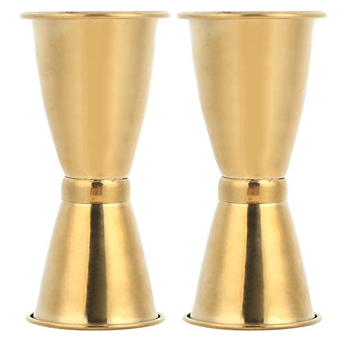 2 uds Jigger de cóctel, acero inoxidable Gold Double Jigger Licor Medidor Jigger Cup Taza de onza Kit de barman para barman(L)