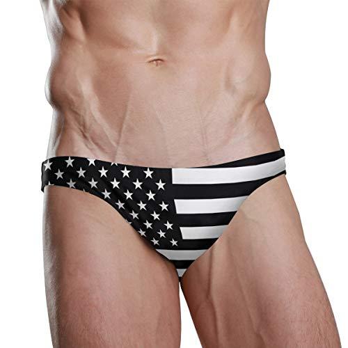 ZZKKO Badehose Bikini Nationalflagge Strand Bikini für Herren Schwimmunterwäsche Sport Gr. Verschiedene Größen, Amerikanische Flagge, Schwarz / Weiß