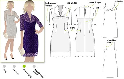 Stijl boog naaien patroon - Alisha jurk Sizes 18-30