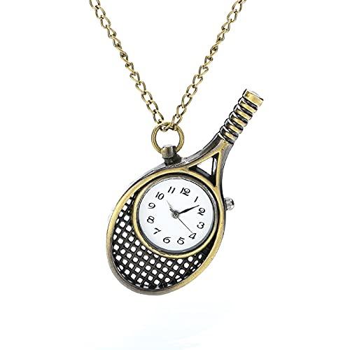Owl Tennis Racket Quartz Pocket Watch Necklace Pendant Pocket Watch Gift Gift Racket