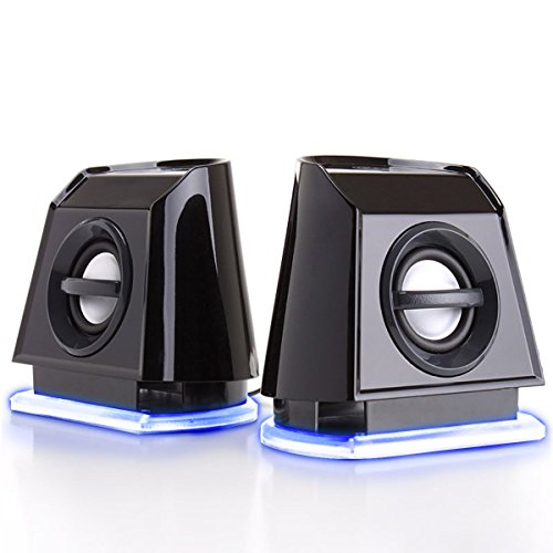 GOgroove USB Powered 2.0 Computer Speakers with Blue LED Glow Lights and Bass Subwoofer 3.5mm AUX Port, Headphone Jack, Volume Control for Laptop, PC, Desktop Computers