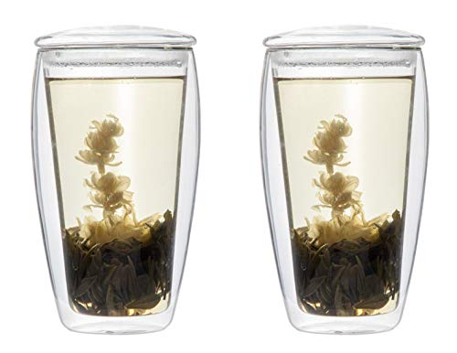 Feelino TEESET: 2X 400ml XL doppelwandiges Teeglas mit Glasdeckel + 2X Teeblumen weißer Erblühtee (Thermo-Glas mit Schwebe-Effekt), LaBionda