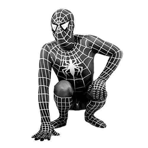 Luxe Film Kostuum Cosplay Superhero Spiderman Volwassen Kinderen Zwart Strakke Jumpsuit Pak Fancy Jurk Kleding Thema Party SPIDERSYBB L 140-150cm Zwart