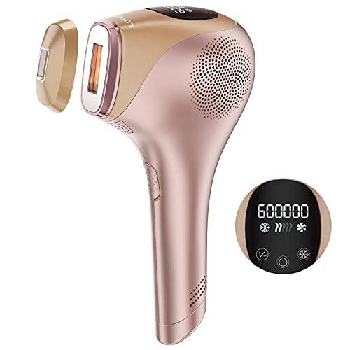 IPL Haarentfernungsgerät mit die Eis-Kühlfunktion, 600.000 Leichte Impulse Dauerhaft Sichtbare Haarentfernung, für Körper, Gesicht, Bikinizone