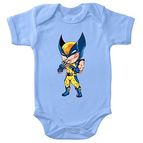 Okiwoki Body bébé Manches Courtes Garçon Bleu Parodie Wolverine - Logan aka Wolverine - des Griffes Bien acérées.(Body bébé de qualité supérieure de Taille 12 Mois - imprimé en France)