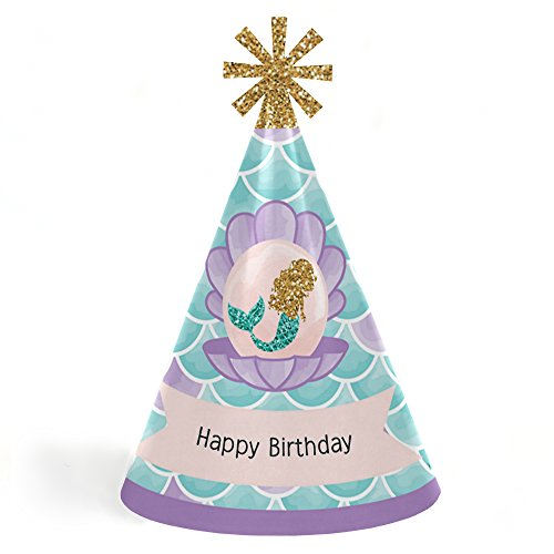 Let's Be Mermaids - Cone Happy Birthday Party Hats for Kids and Adults - Set of 8 (Standard Size)