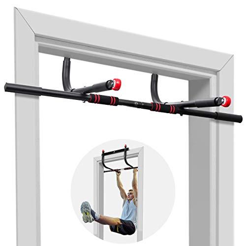 AhfuLife Tür Klimmzugstange, Multifunktions Klimmzugstange Ohne Schraube mit Zusatzrad, Hochleistungs-Oberkörper-Trainingsstange zu Hause, Fitness-Tür-Übungsstange für Den Innenbereich