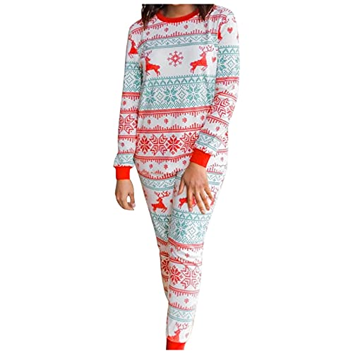 Hengyouhui Zweiteiliger Schlafanzug Lang Hausanzug Weicher Warmer Pyjama Set Rundhals Langarm Pyjama Sets T-Shirt und Elchdruck Hose