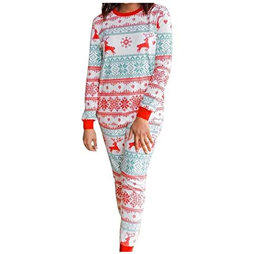 N/AB Conjunto de pijama largo con diseño de Navidad, para hombre, mujer y niños, con motivos navideños, renos, copos de nieve, ropa de dormir