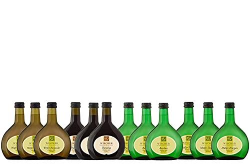 WEIN WISCHER Weinpaket Weine To-Go Bocksbeutel Weißer Burgunder, Domina, Bacchus, Müller-Thurgau (12 x 0,25l)