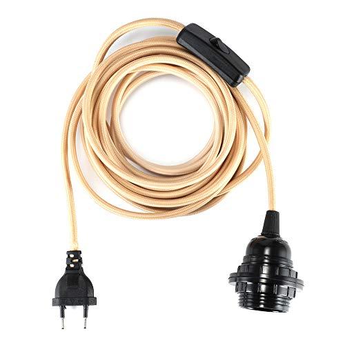 Portalámparas E27 con cable de 2 hilos, cable de tela de 4,5 metros, cable con enchufe e interruptor, cable de lámpara para lámpara colgante, caqui