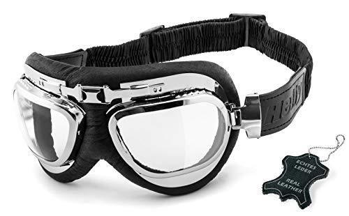 HELLY® - No.1 Bikereyes® | Motorradbrille | echt Leder | beschlagfrei, winddicht, HLT® Kunststoff-Sicherheitsglas nach DIN EN 166 | Motorradbrille: 1390c