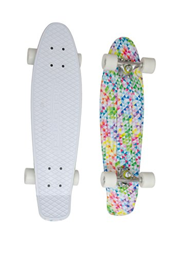 """MoBoard 27"""" Inch Graphic Complete Skateboard (White/Mosaic - White)"""