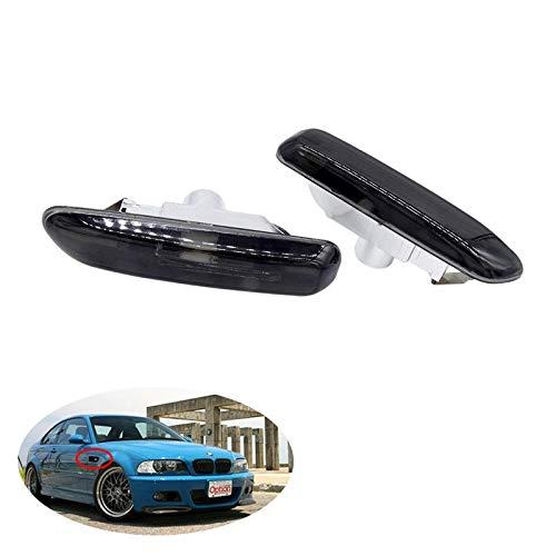 GHC Lichtleisten 1 Paar Blinker Seitenmarkierungsleuchte Lichter Blinker Licht for BMW 3er E46 316I 318I 325I X3 E83 E90 4D / 2D 1999-2003 (Farbe : Schwarz)