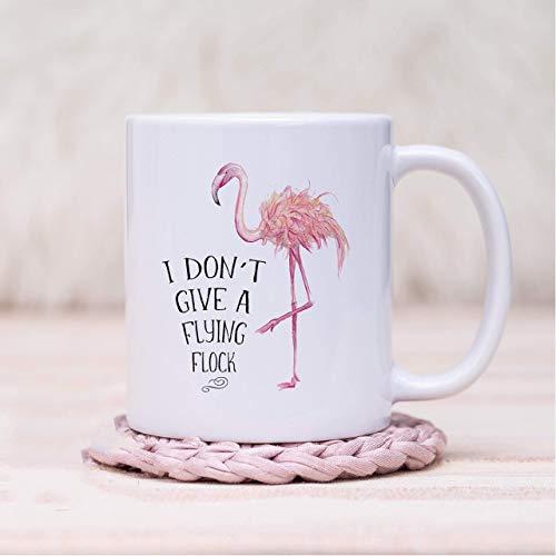 N\A I Don 't Give A Flying Flock mug Taza de Flamenco Taza de café Divertida Don' t Give a Fuck mug Sarcastic Pun Flamingo Gift Regalo para su Amigo