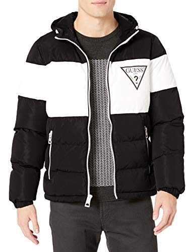 GUESS Men's Color Block Hooded Puffer Jacket, Black, Small