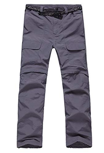 SHOULIEER Spring Summer Man Hiking Fishing Active Quick-Dry Pants Ultraviolet-Proof Detachable Leg Trousers Gray M