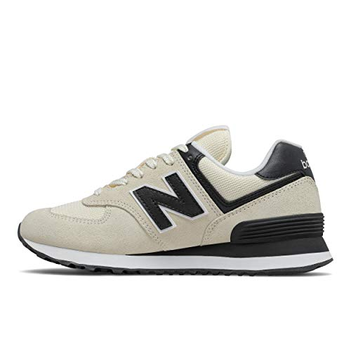 New Balance Women's 574 V2 Essential Sneaker, Angora/Black, 5 M US