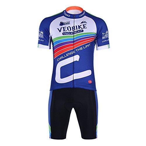 VEOBIKE Herren Rainbow Fahrrad Racing tragen kurz Anzug kurz Ärmel Hemd Jacke mit Gel gepolsterte Shorts kurz Hose