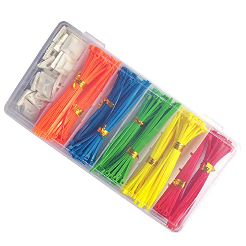 PUNCIA Nylon Kabelbinder 100mm Sortiment Set Farbig Kabelbinder Blau Kabelbinder Sortiment Farbig Set Farbig Blau/Rot/Gelb/Grün/Orange 100mm x 2,5 mm(5x80=400), 3M Draht Kabel Clip (25pcs)(MEHRWEG)