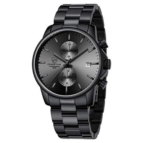 GOLDEN HOUR Reloj de Cuarzo para Hombre de Negocios de Moda con cronógrafo Impermeable de Acero Inoxidable para Hombre, Fecha automática (Black)