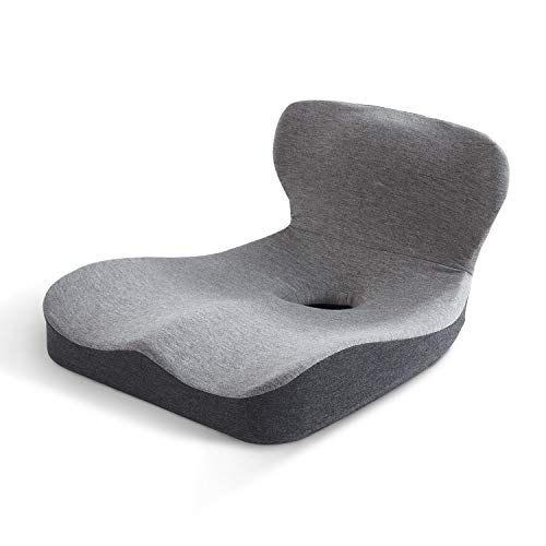 HOMBYS 100% Memory Foam Seat Cushion with Lumbar Support for Car, Office Chair, Wheelchair, Coccyx Cushion Lumbar Support Pillow with Removable Cover for Tailbone Back Pain Relief (15.7''x15.7''