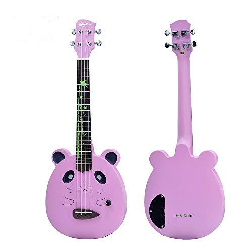 Ukelele Eléctrico Ukelele de 23 pulgadas de caoba de concierto Mini sólido silencioso ukelele guitarra de 4 cuerdas para guitarra arco iris Panda