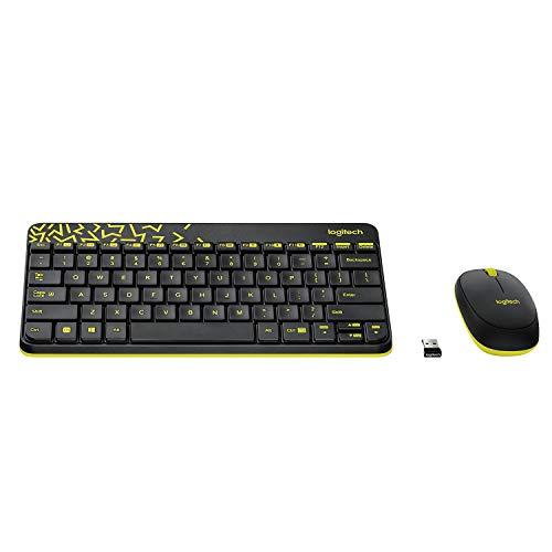Logitech MK240 Nano Wireless Keyboard and Mouse Combo,12 Function Keys 2.4GHz Wireless, 1000DPI,Spill-Resistant Design, PC/Mac-Black/Chartreuse Yellow