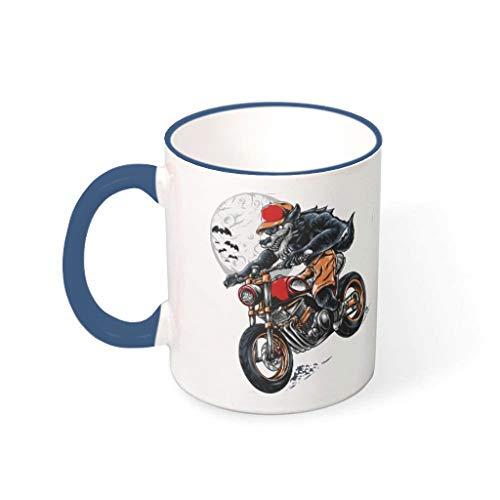 COMBON Shop Taza de café con mango de porcelana para montar a caballo hombre lobo taza de Halloween azul medianoche 330 ml