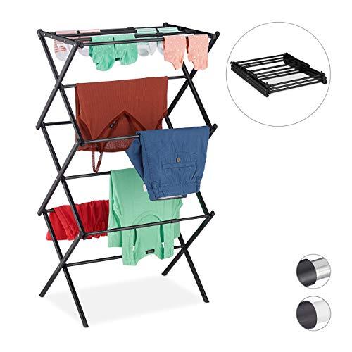 Relaxdays Wäscheständer, klappbar, ausziehbar, 11 Stangen, 6 Ebenen, platzsparender Turmwäscheständer, Metall, schwarz