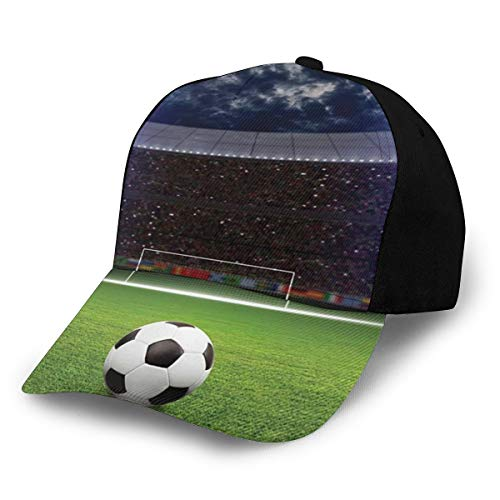 Unisex Sports Decor Collection Soccer Ball On Stadium Arena In Night Illuminated Bright Spotlights Cheering Fans Fashion Plain Adjustable Baseball Cap Sun Cap
