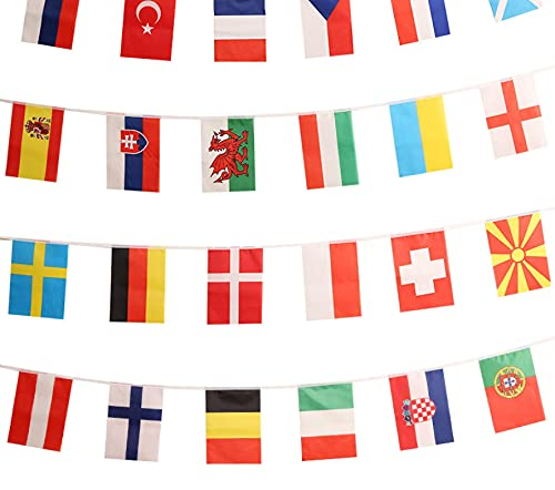 AOOF European Cup Championship String Flag, European Cup Football Decor 24 Countries String Flag,World Cup,Grand Opening,Bar,Sports Events,Festival Events 6#30 * 45cm,totally13m