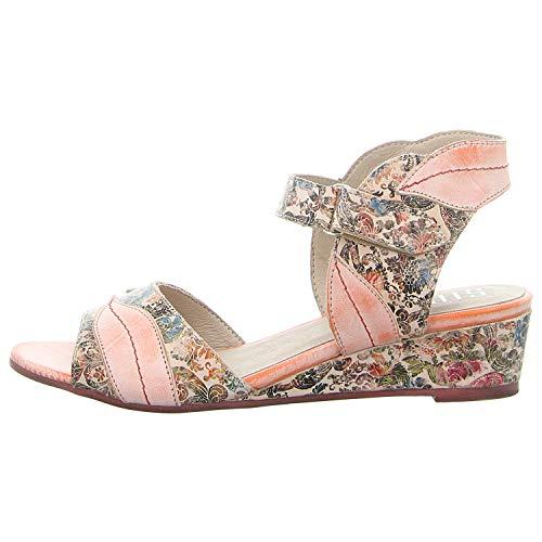 Simen Damen Sandaletten Sandalette mit Keilabsatz 1308A-ROSA bunt 623212
