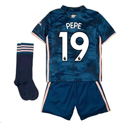 Jertinhf 2020-2021 Kids/Youths Third Soccer Jersey/Short/Socks Colour Navy (Arsenal Pépé #19(1-3years/size16))