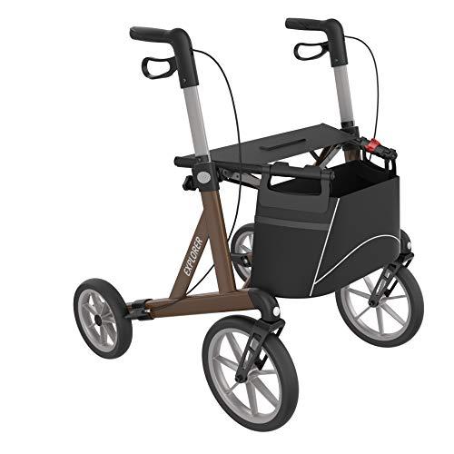Outdoor Rollator, leicht faltbarer Alu-Rollator mit großen, weichen Rädern (M - Mittelgroß), mit hablicare Sicherheitsreflektoren!