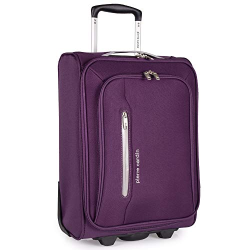 Soft Sided 19 Inch Suitcase with Wheels - KLM Flybe Emirates Cabin Approved Under 55x40x20 Luggage by Pierre Cardin | TUI Soft Shell Bag | Light 1.8kg 48.5cm 30L (Carry On, Purple & Light Grey)