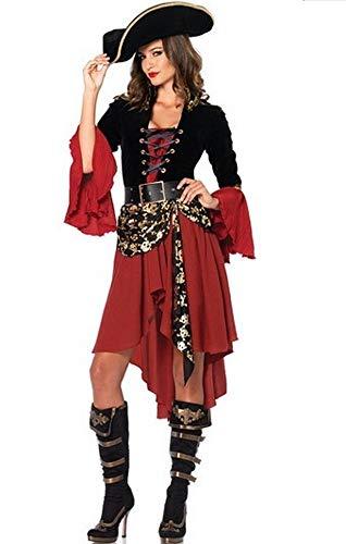 Generico Costume Carnevale Donna Travestimento da Pirata con Capello e Cintura Vestito Cosplay Festa (Taglia Unica 40-46) CP001-U