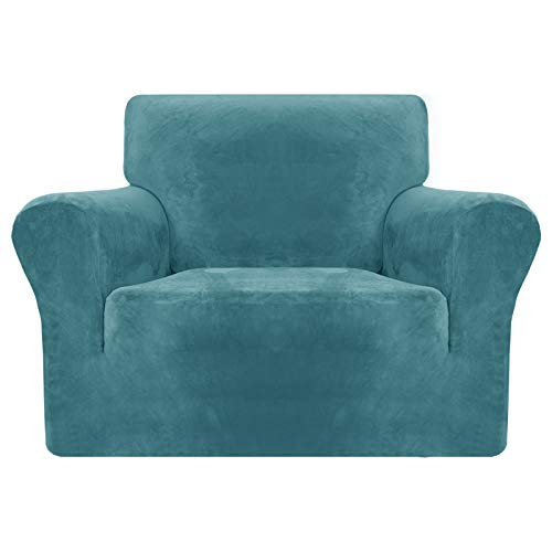 MAXIJIN Thick Velvet Chair Covers for Armchairs Super Stretch Non Slip Sofa Cover 1 Seater Dogs Cat Pet Living Room 1-Piece Elastic Couch Protector Chair Slipcover with Arms (1 Seater, Peacock Blue)