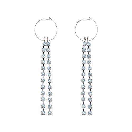 Family Needs Rhinestone ingesneden Oorbellen Temperament Overdone Ear hanger Fashion Trend Personality Ear Ornamenten (Color : Diamond tassel)