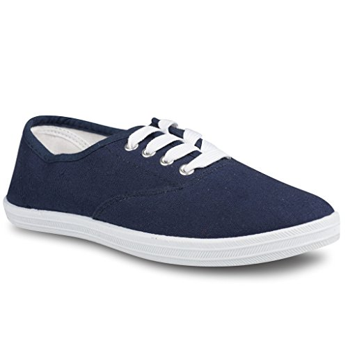 Twisted Tennis Shoes for Women | Low Rise Lace Up Sneakers, Casual Classic Plimsoll Style, Navy Blue, 11