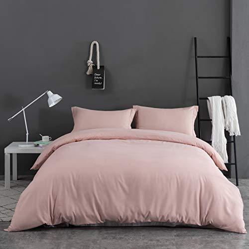 MOHAP Duvet Cover Set 3 PCS Double Plain Brushed Microfiber Bedding Duvet Cover with Pillowcases (Pink)