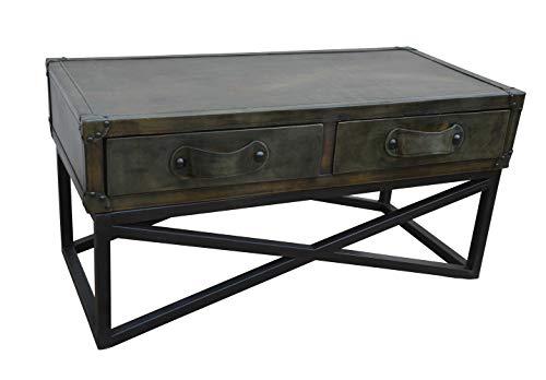 LC Home Konsole mit 2 Schubladen Sideboard Wandtisch Anrichte Beistellschrank Lederbezug grün Gestell Metall schwarz