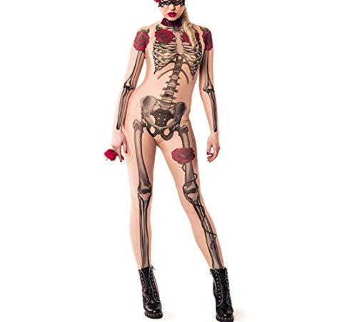 Vrouwen zomerkleding Halloween Horror Rozen van de schedel van het skelet Jumpsuit Cosplay Kostuums Top V-hals Oversized (Color : Khaki, Size : XL)